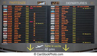 aéroport, vol, venise, planche