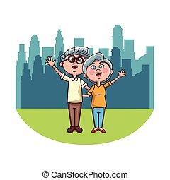 aîné, couple, ville