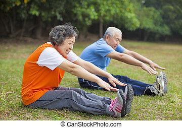 aînés, fonctionnement, couple, parc, personnes agées, dehors, heureux