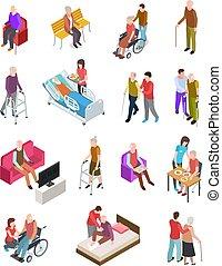 aînés, gérontologie, ensemble, personnes, assistant, gens, monde médical, personnes agées, vecteur, therapy., nurse., maison, personne agee, 3d, isometric., wheelchair.