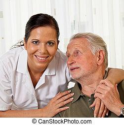 aînés, maisons, soins, personnes agées, infirmière, soin