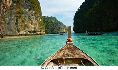 a mûri, clair, eaux, bateau bois, île, pont, phi-phi