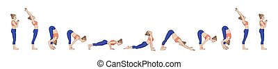 a., namaskara, salutation., yoga, surya, soleil, sequence.