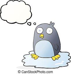 a pensé bulle, dessin animé, glace, manchots