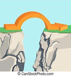 abîme, rocheux, illustration, flèche, arch-shaped, orange, traverser, travers