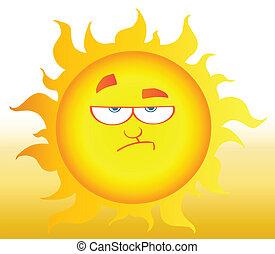abaissement, soleil brille