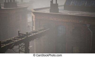 abandonnés, bâtiments, industriel, vieux, usine