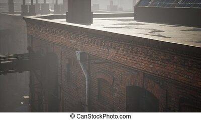 abandonnés, usine, vieux, bâtiments, industriel