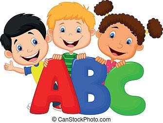 abc, dessin animé, gosses, école