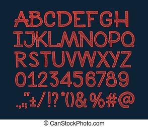 abc, font., alphabet, ponctuation, lettres, craie, nombres, vecteur, caractères, sketched, marques, rayé, type