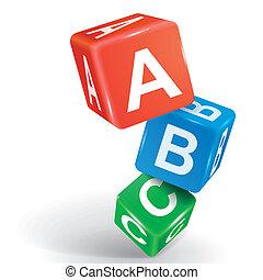 abc, mot, dés, illustration, 3d