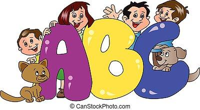 abc, premier plan., famille, vecteur, blocs, heureux