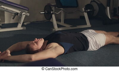abdominal, plancher, exercices, fort, mensonge, homme