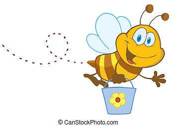 abeille, caractère, seau, dessin animé, voler