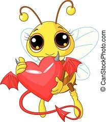 abeille, coeur, diable, tenue, mignon