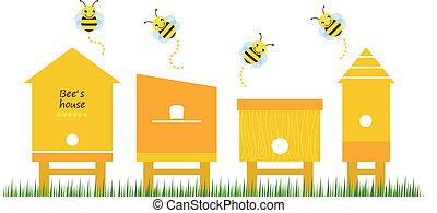 abeille, collection, vecteur, maisons, printemps