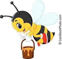 abeille, dessin animé, mignon