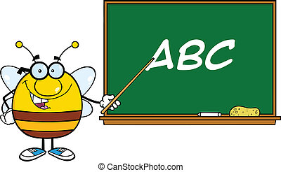 abeille, devant, tableau noir