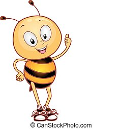 abeille, haut, pouces