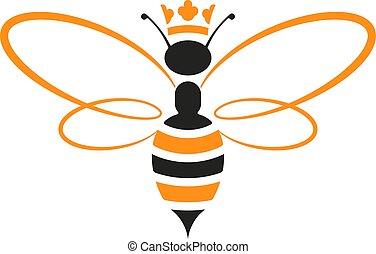 abeille, isolé, jaune, black., reine, geometric., icône, couronne