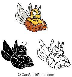 abeille, livre coloration, fort, caracter