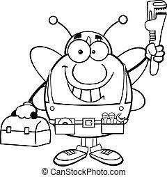 abeille, noir, pudgy, plombier, blanc