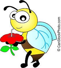 abeille, petite gorgée, mignon, fleur, prendre