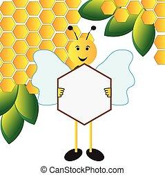 abeille, planche, tenue, signe
