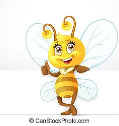 abeille, stand, fond, bannière, blanc, mignon, grand