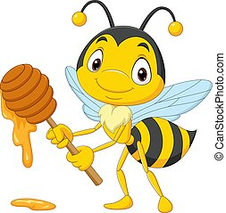 abeille, tenue, miel, dessin animé, mignon