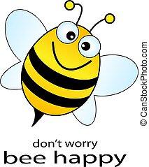 abeille, vecteur, heureux, illustration