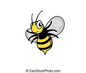 abeille, vecteur, voler, sourire