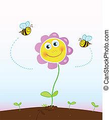 abeilles, fleur