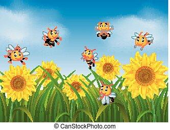 abeilles, voler, jardin, tournesol