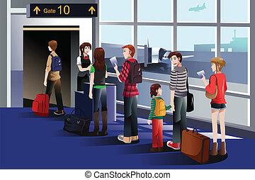 abordant porte, avion, gens
