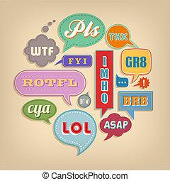 &, abréviations, acronyms, populaire, bulles, comique