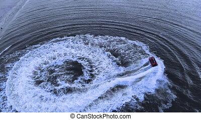 abrutissant, océan, bateau, par, courses, lumière soleil