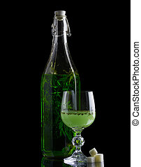absinthe, isolé, sucre, verre, noir, bouteille