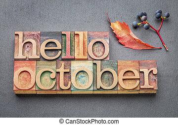 abstrtact, bois, octobre, mot, type, bonjour
