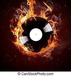 accès, brûlé, vinyle, disc-hot