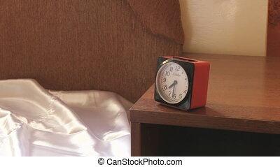 accès, femme, reveil, elle, horloge