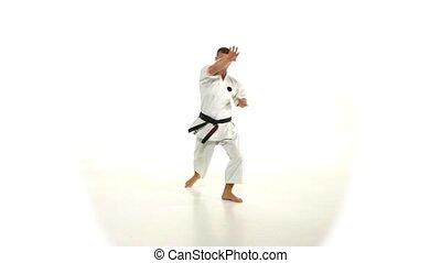 accès, karate., kimono, fond, pied, blanc, homme