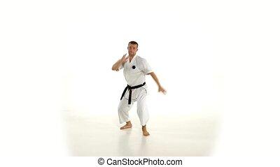 accès, lent, motion., karate., arrière-plan., kimono, pied, blanc, homme