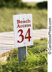accès, plage, tête, chauve, island.