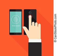 accès, smartphone, scanner, empreinte doigt