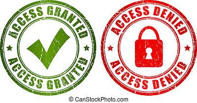 accès, timbre, granted, nié