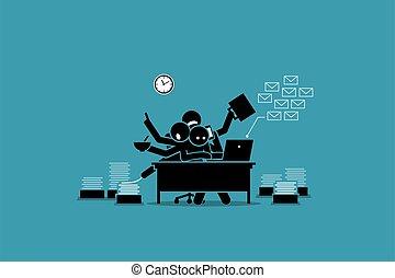 accablé, bureau fonctionnant, work., occupé, homme