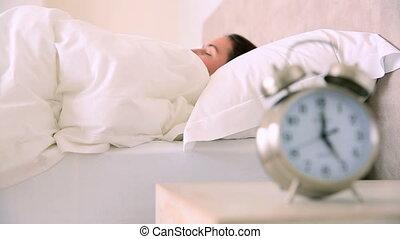 accentué, réveiller, brunette, haut, tard