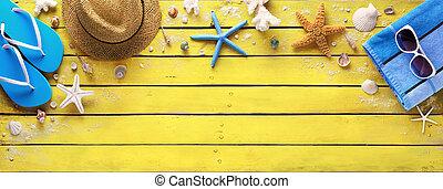 accessoires, bois, jaune, plage