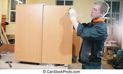 accessoires, ouvrier, charpentier, visser, usine, cabinet, meubles